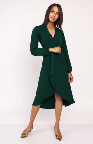Sukienka z przedłużanym tyłem butelkowa zieleń