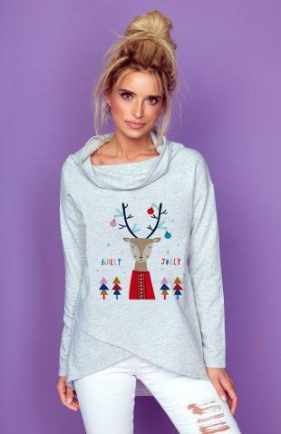 Bawełniana bluza z kominem w świąteczny motyw