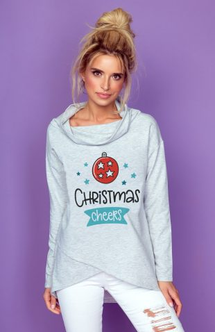 Bawełniana komfortowa bluza damska świąteczny nadruk