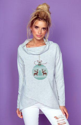 Bawełniana komfortowa bluza świąteczny wzór