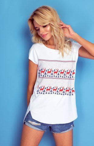 Koszulka damska biała ze świątecznym nadrukiem