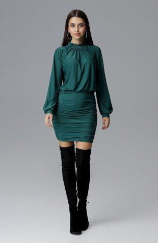 Dopasowana sukienka z szerokim rękawem zielona