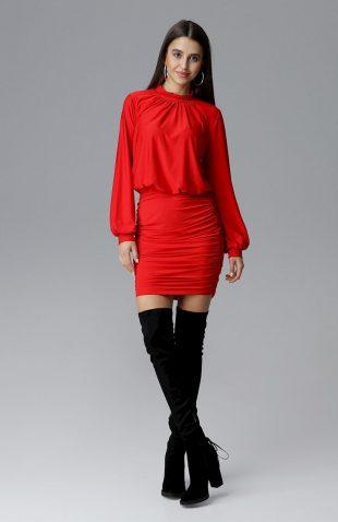 Dopasowana sukienka z szerokim rękawem czerwona