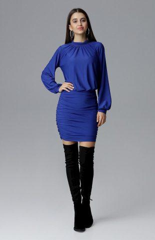 Dopasowana sukienka z szerokim rękawem szafirowa