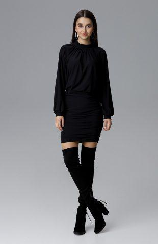 Dopasowana sukienka z szerokim rękawem czarna