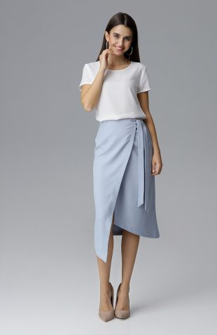 Kopertowa spódnica midi wiązana w pasie błękit