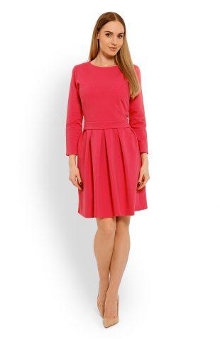 Bawełniana rozkloszowana sukienka koral