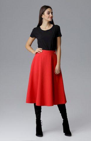 Rozkloszowana spódnica za kolano z kieszeniami czerwona