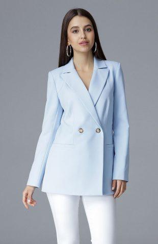 Elegancki żakiet dwurzędowy niebieski