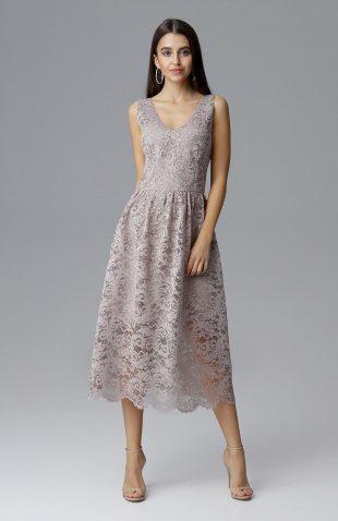 Koronkowa sukienka wizytowa bez rękawów beżowa