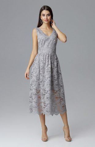 Koronkowa sukienka wizytowa bez rękawów szara
