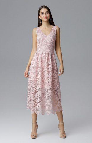 Koronkowa sukienka wizytowa bez rękawów różowa