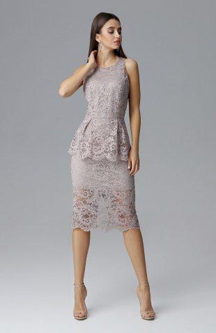Koronkowa ołówkowa sukienka bez rękawów beżowa