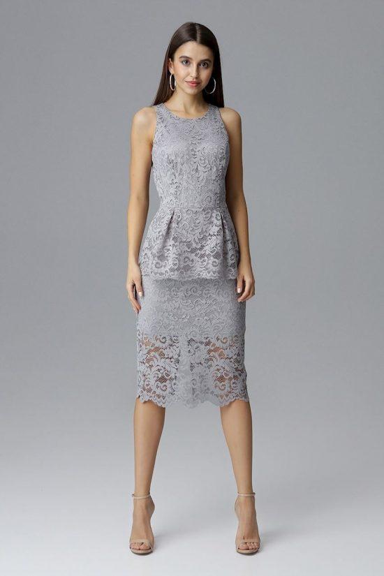 Koronkowa ołówkowa sukienka bez rękawów szara