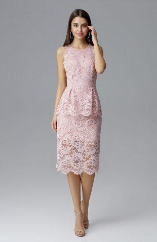 Koronkowa ołówkowa sukienka bez rękawów różowa