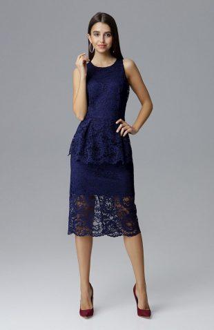 Koronkowa ołówkowa sukienka bez rękawów granatowa