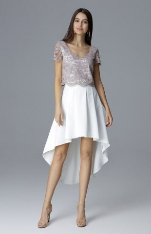 Elegancki komplet spódnica i koronkowy top beż