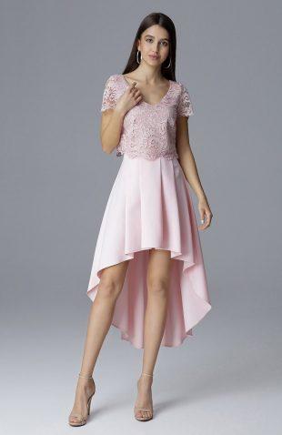 Elegancki komplet spódnica i koronkowy top różowy