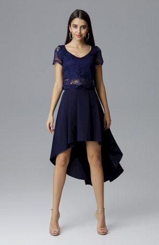 Elegancki komplet spódnica i koronkowy top granat