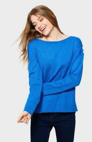 Klasyczny sweter z rozcięciami niebieski