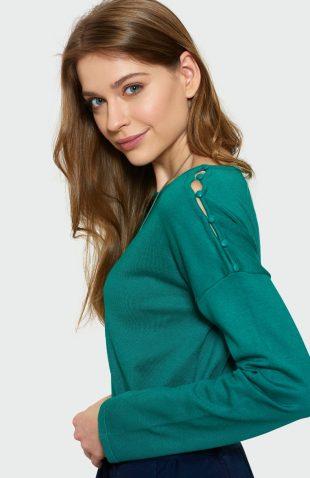 Klasyczny sweter z rozcięciami zielony