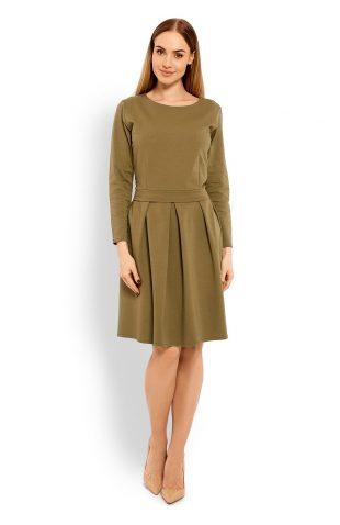 Bawełniana rozkloszowana sukienka khaki