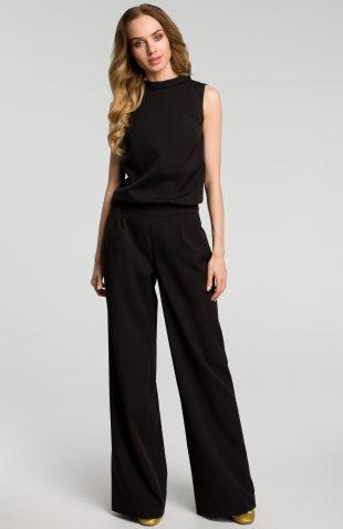 Elegancki kombinezon z szerokimi nogawkami czarny