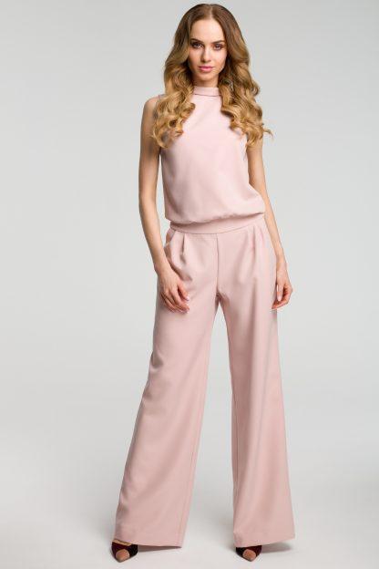 Elegancki kombinezon z szerokimi nogawkami róż