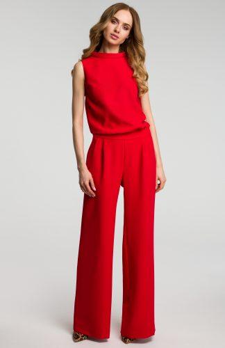 Elegancki kombinezon z szerokimi nogawkami czerwony