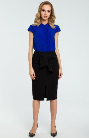 Elegancka spódnica ołówkowa wiązana paskiem czarna
