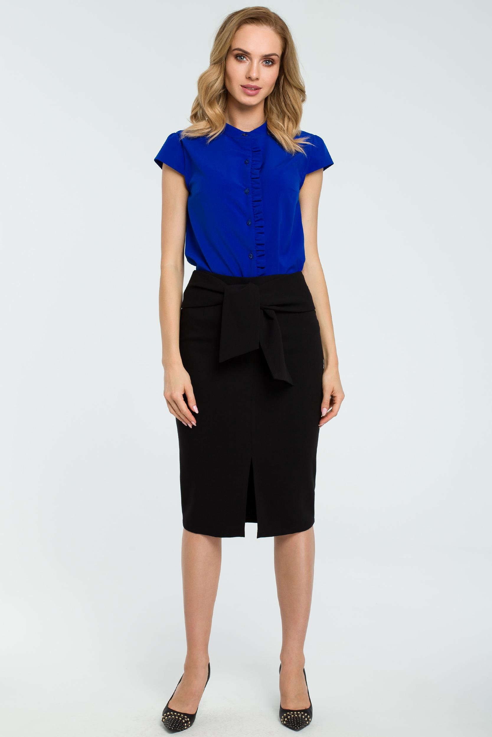 697e2e15 Elegancka spódnica ołówkowa wiązana paskiem czarna