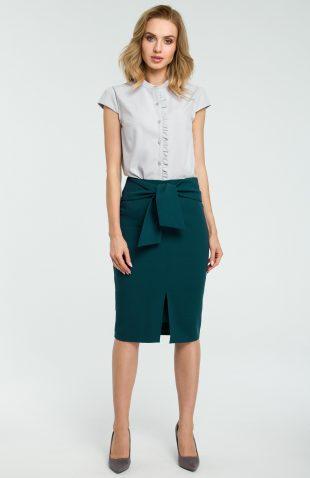 Elegancka spódnica ołówkowa wiązana paskiem zielona