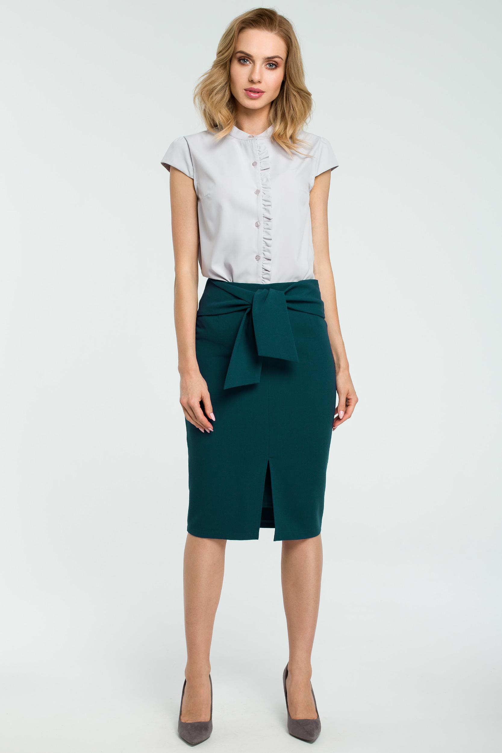 0cbaffc6ee03ef Elegancka spódnica ołówkowa wiązana paskiem zielona - kurier 5,99 zł
