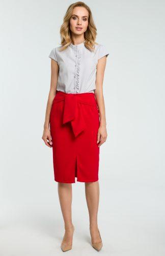 Elegancka spódnica ołówkowa wiązana paskiem czerwona