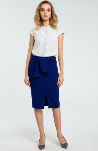 Elegancka spódnica ołówkowa wiązana paskiem niebieska