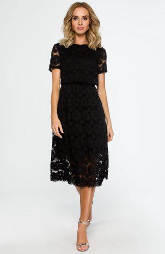 Koronkowa elegancka sukienka midi czarna