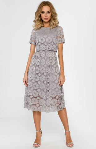 Koronkowa elegancka sukienka midi szara