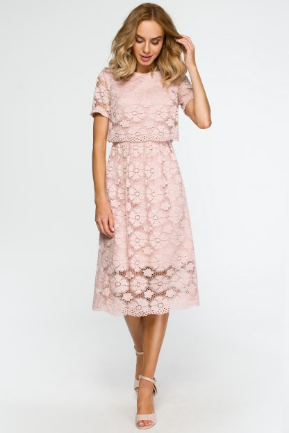 Koronkowa elegancka sukienka midi pudrowy róż