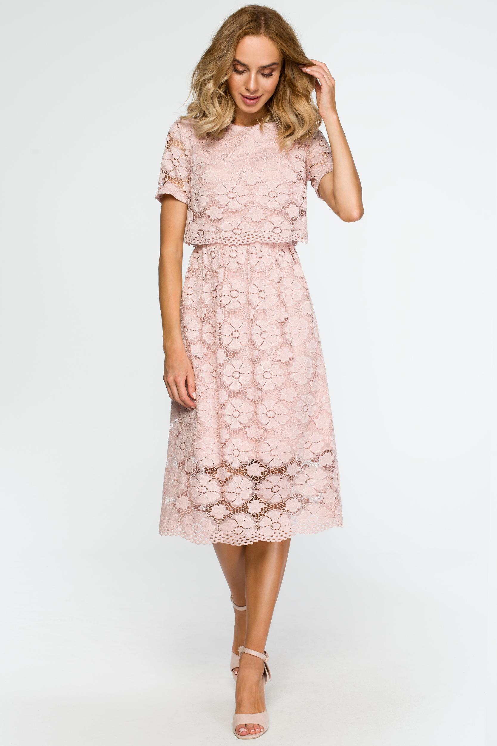 130f2575d52226 Koronkowa elegancka sukienka midi pudrowy róż - wysyłka już od 5,99 zł