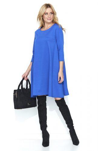Trapezowa szeroka sukienka przed kolano niebieska