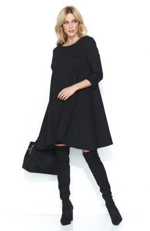 Trapezowa szeroka sukienka przed kolano czarna
