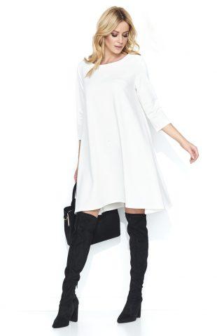Trapezowa szeroka sukienka przed kolano ecru