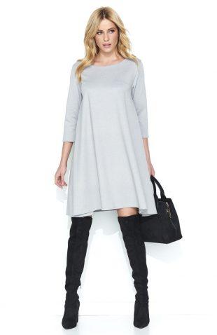 Trapezowa szeroka sukienka przed kolano szara