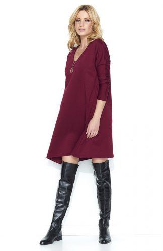 Luźna asymetryczna sukienka do kolan bordo
