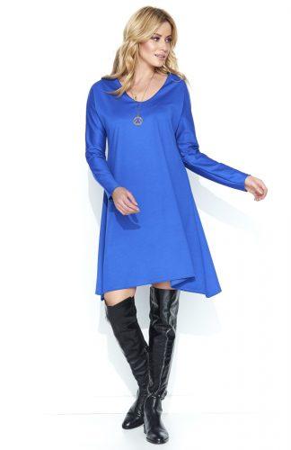 Luźna asymetryczna sukienka do kolan niebieska