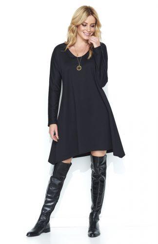 Luźna asymetryczna sukienka do kolan czarna
