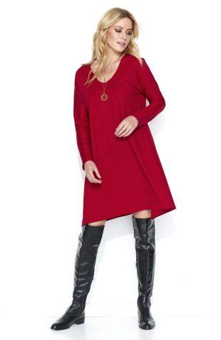 Luźna asymetryczna sukienka do kolan czerwona