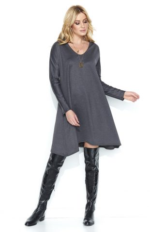 Luźna asymetryczna sukienka do kolan grafit