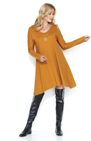Luźna asymetryczna sukienka do kolan żółta