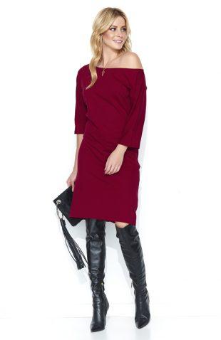 Sukienka dresowa midi odsłaniająca ramię bordo